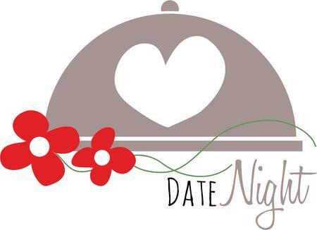 dinner date: Heart is symbol of love . Illustration