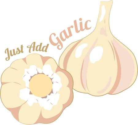 pungent: Grab all the healthy and beauty benefits from Garlic with this design by Embroidery patterns. Illustration