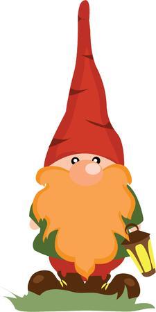 Gnome! Beste voor uw wetten en tuin decoratie. Stock Illustratie