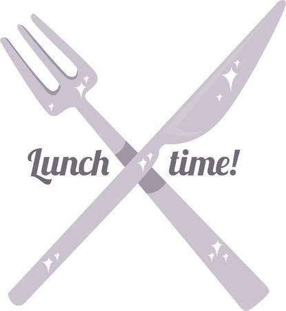 食べる時間だ!刺繍パターンでこのデザインのテーブル マナーとスタイルで食べる。  イラスト・ベクター素材