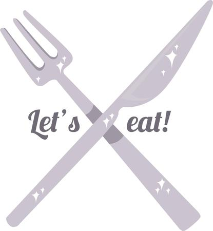 manners: Its time to eat! Eat in style with proper table manners with this design by Embroidery patterns. Illustration