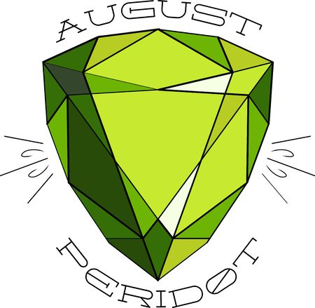 peridot: Add beauty and elegance to your creation with this collection of semiprecious stones. Illustration