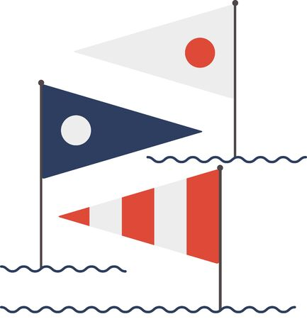 nautical flags: Your next creation can set sail with this collection of nautical message flags. Illustration