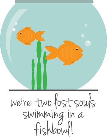 세계는 물고기 그릇입니다. 그냥 계속 수영을해라! 일러스트