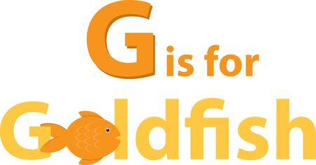 goldfishes: G for Goldfish! Goldfishes in Aquarium makes your home looks beautiful and pretty. Illustration