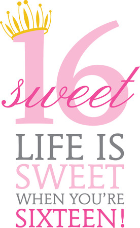Enjoy your  Super Sweet 16 birthday with this design. Stock Illustratie
