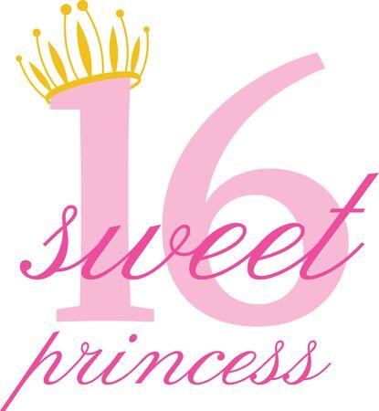 Enjoy your  Super Sweet 16 birthday with this design. Иллюстрация