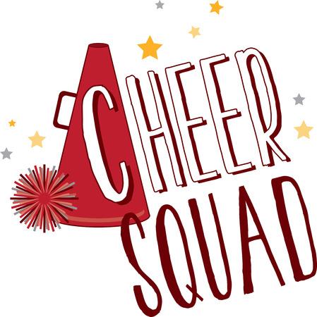 sport team: Steun een favoriete sportclub met een cheerleader ontwerp. Stock Illustratie