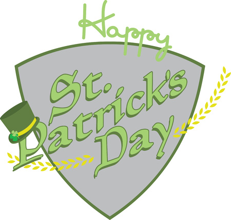 st  patty's: Saint Patricks Day decorative tophat saying for your holiday designs. Illustration