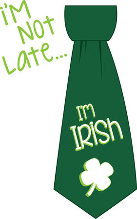 st  patty's: Saint Patricks Day shamrock tie for your holiday designs. Illustration
