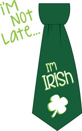 Saint Patricks Day shamrock tie for your holiday designs. Illustration