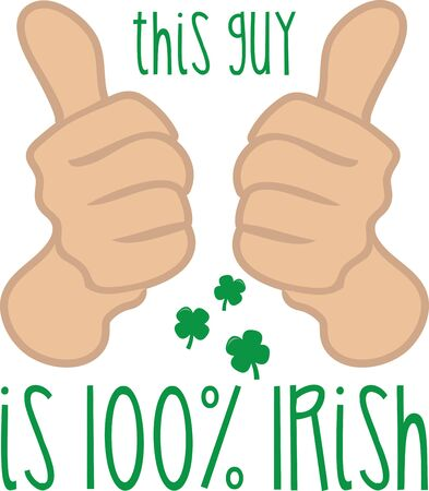 two thumbs up: Two thumbs up Saint Patricks Day design. Illustration