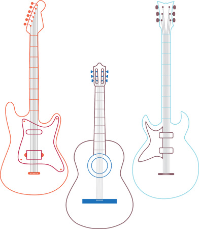 Outlined guitar trio for music enthusiasts.