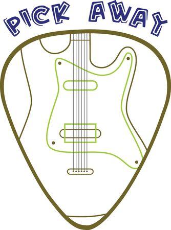Guitar pick with electric guitar for music lovers. Ilustração