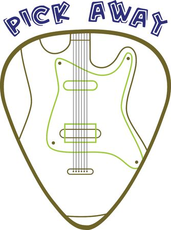 guitar pick: Guitar pick with electric guitar for music lovers. Illustration