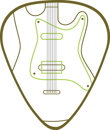 Guitar pick with electric guitar for music lovers. Illustration