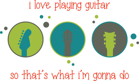 Guitar heads in circles with dots for music enthusiasts.