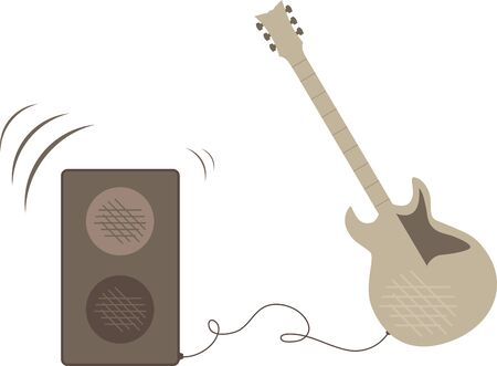 Electric guitar connected to a speaker and playing music. Illustration