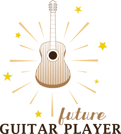 Acoustic guitar with shining stars radiating outwards.