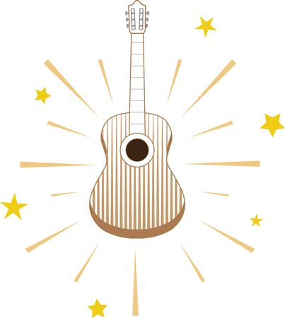 outwards: Acoustic guitar with shining stars radiating outwards.