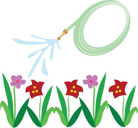 garden hoses: April showers, brings may flowers.  Grab this image for your springtime design. Illustration