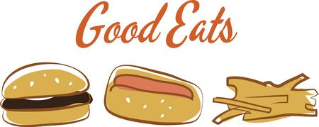 Everyone loves a hot dog and hamburger on game day.  Use this image with fries in your next design. Illustration