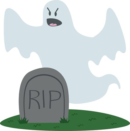 specter: This is the perfect tombstone ghost for your Halloween party. Illustration