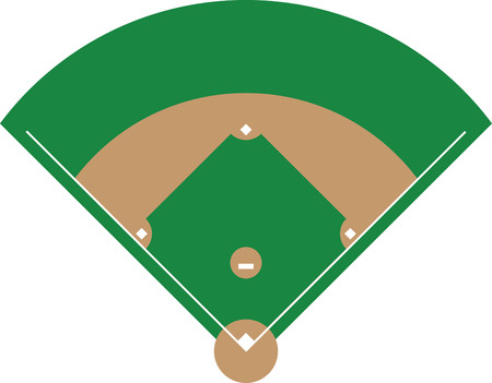 baseball diamond: Bring the excitement of Americas favorite sport to your creations. This is an amazing design for embellishing a special shirt or a sport bag for that special baseball fan. Illustration