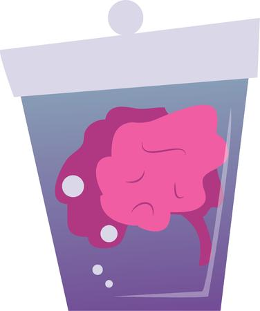 Use this brain in a jar for a clever friend's shirt. Stock Vector - 42724061