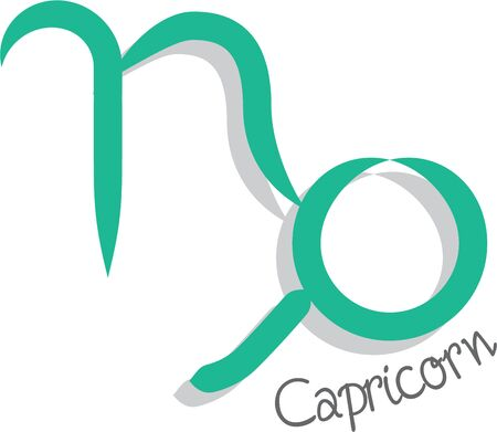 superstitious: Use this Capricorn sign for a superstitious friends bag or strap. Illustration