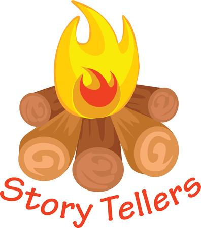 Use this campfire for an adventurous friends shirt. Illusztráció