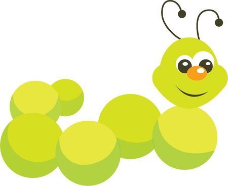 crawling animal: Use this caterpillar for a toddlers shirt. Illustration