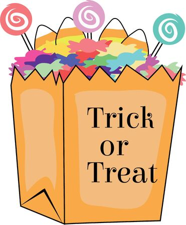 Use this treat bag for a Halloween bag for a kid. Vectores