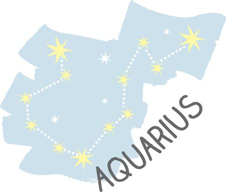 superstitious: Use this Aquarius constellation for a superstitious friends bag. Illustration