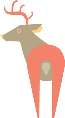 This deer will look nice on a shirt or denim jacket for a friend. 向量圖像