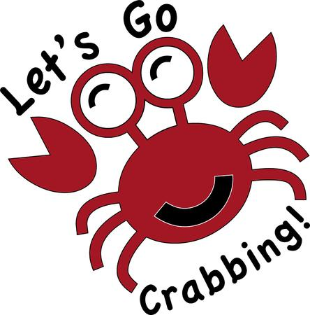 marine crustaceans: Use this crab for a fun animal shirt for a child. Illustration