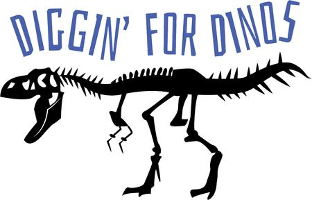 thoroughly: Any dinosaur lover will thoroughly enjoy this T-rex skeleton on a shirt or bag. Illustration