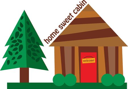 log cabin: Use this log cabin for a shirt for your favorite camper. Illustration