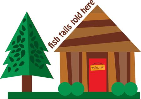 Use this log cabin for a shirt for your favorite camper. Çizim