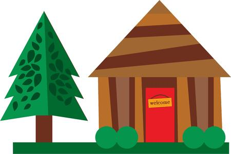 Use this log cabin for a shirt for your favorite camper. 向量圖像