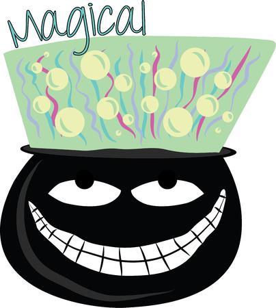 magic cauldron: Use this creepy cauldron for a boys magic shirt.