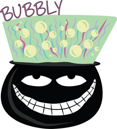 Use this creepy cauldron for a boys magic shirt.
