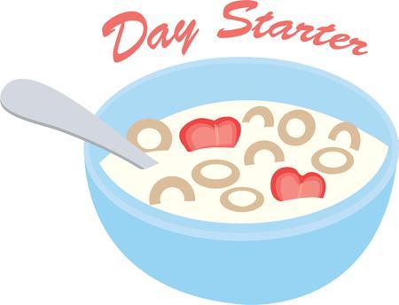 아침 냅킨에이 시리얼 그릇을 사용하십시오. 일러스트