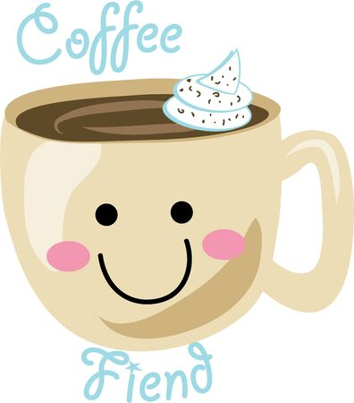 Use this happy coffee for a girl friends pajama shirt.