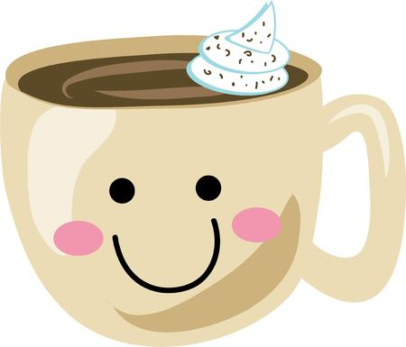 Use this happy coffee for a girl friend's pajama shirt.  イラスト・ベクター素材