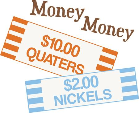 These quarters and nickels roll papers will be a funny shirt for a frugal banker friend Ilustração