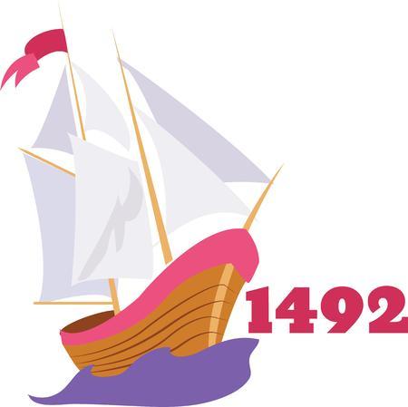 columbus: Utilice este barco desde 1492 para una celebraci�n camisa Col�n. Vectores