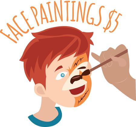 painted face: Use this painted face for a fun childrens shirt. Illustration