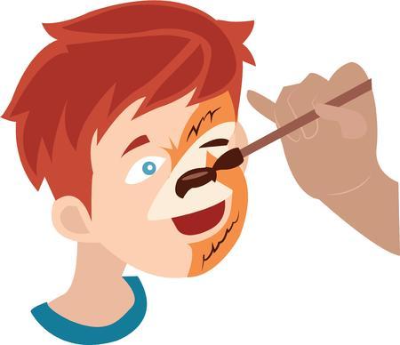 make up brush: Utilice esta cara pintada para la camisa hay un parque infantil. Vectores