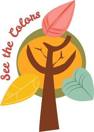 Use this autumn tree for a fun seasonal bag. Иллюстрация